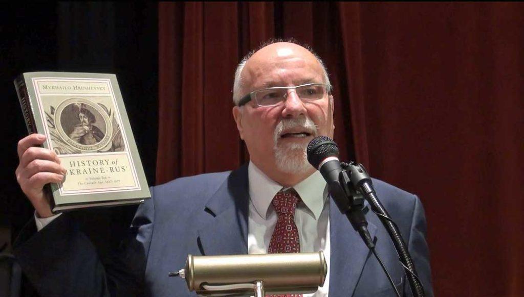 Dr. Frank E. Sysyn, holding the new Hrushevsky volume (photo credit, William Szuch)