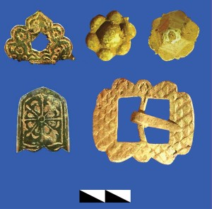 Fragments of costly milk-glass plates painted with multicoloured plant design, seventeenth or eighteenth century. 2014 excavations in the Baturyn fortress. Photo: Yu. Syty